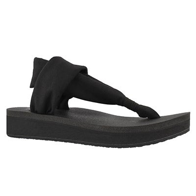 Lds Yoga Sling black thong wedge sandal