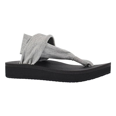 Lds Yoga Sling grey thong wedge sandal