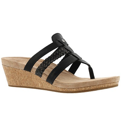 Lds Maddie blk wedge thong sandal