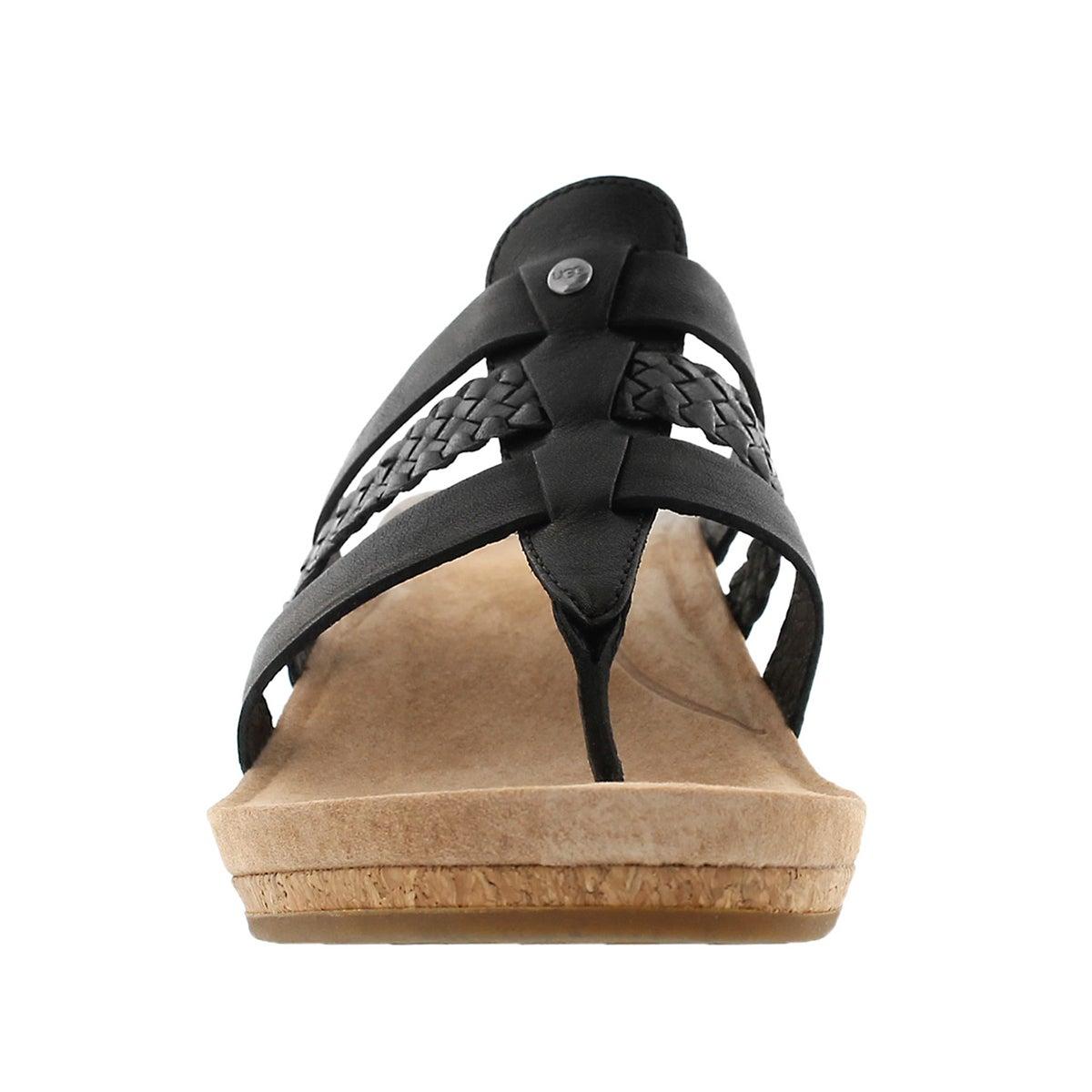 Lds Maddie blk wedge thong sandal