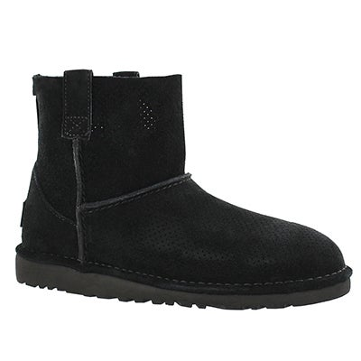 UGG Australia Women's CLASSIC UNLINED mini perforated blk boots