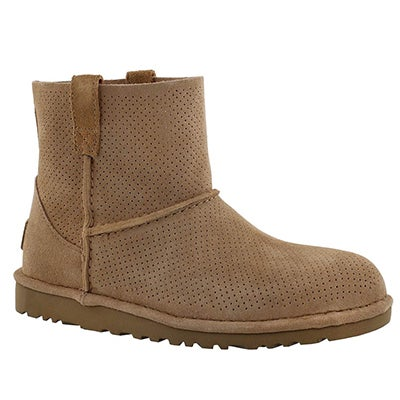 UGG Australia Women's CLASSIC UNLINED mini perforated tawn boots