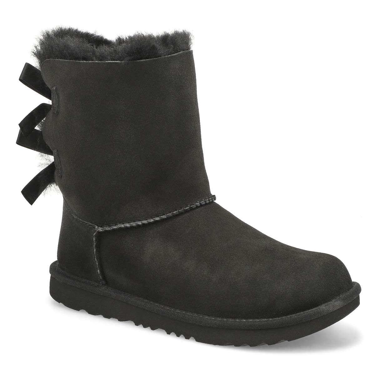 Girls' BAILEY BOW II black sheepskin boots