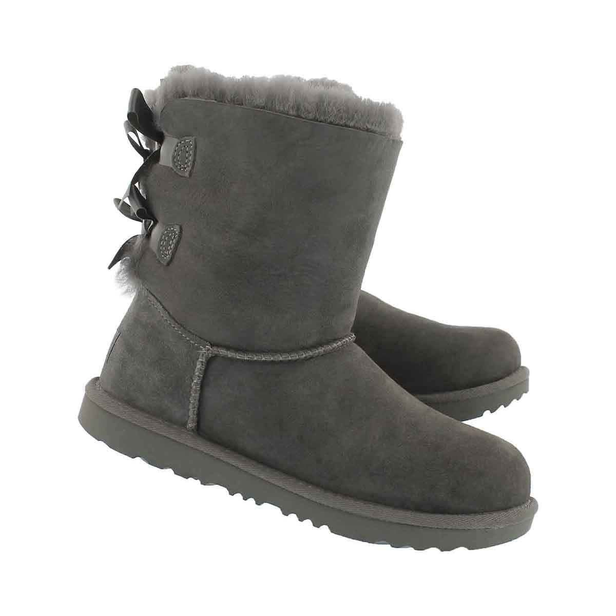 Grls Bailey Bow II grey sheepskin boot