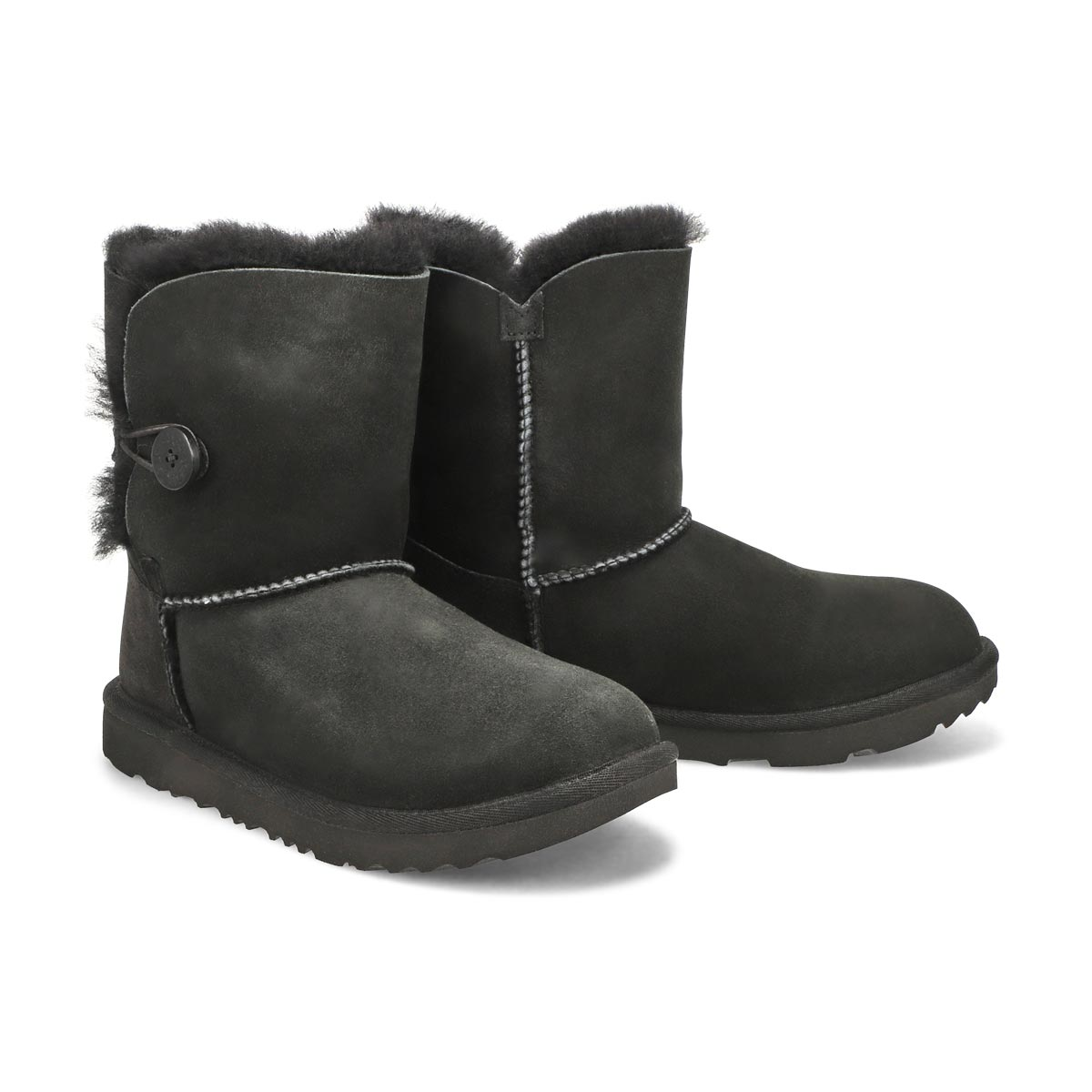 Grls Bailey Button II blk sheepskin boot