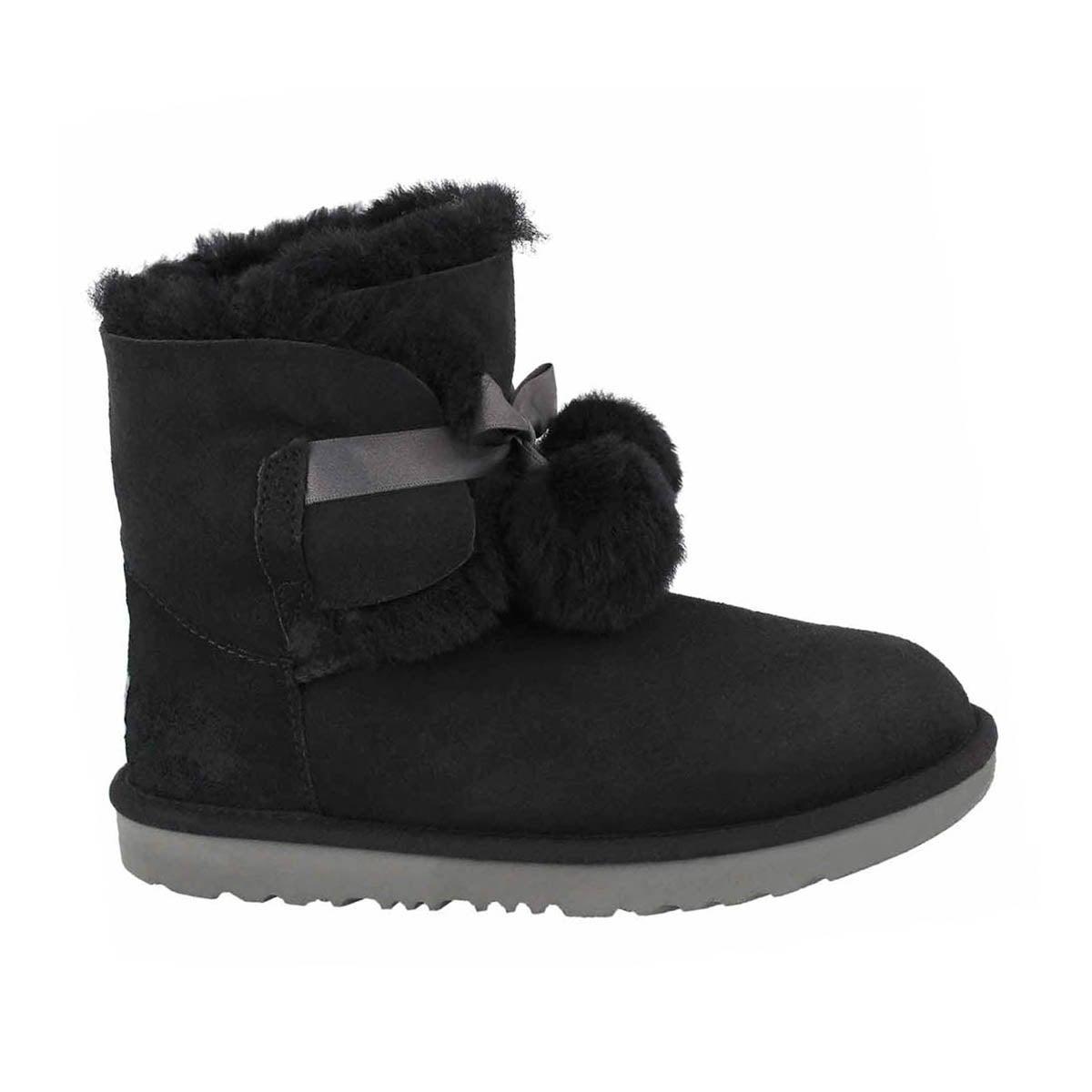 Girls' GITA black pom pom sheepskin boots