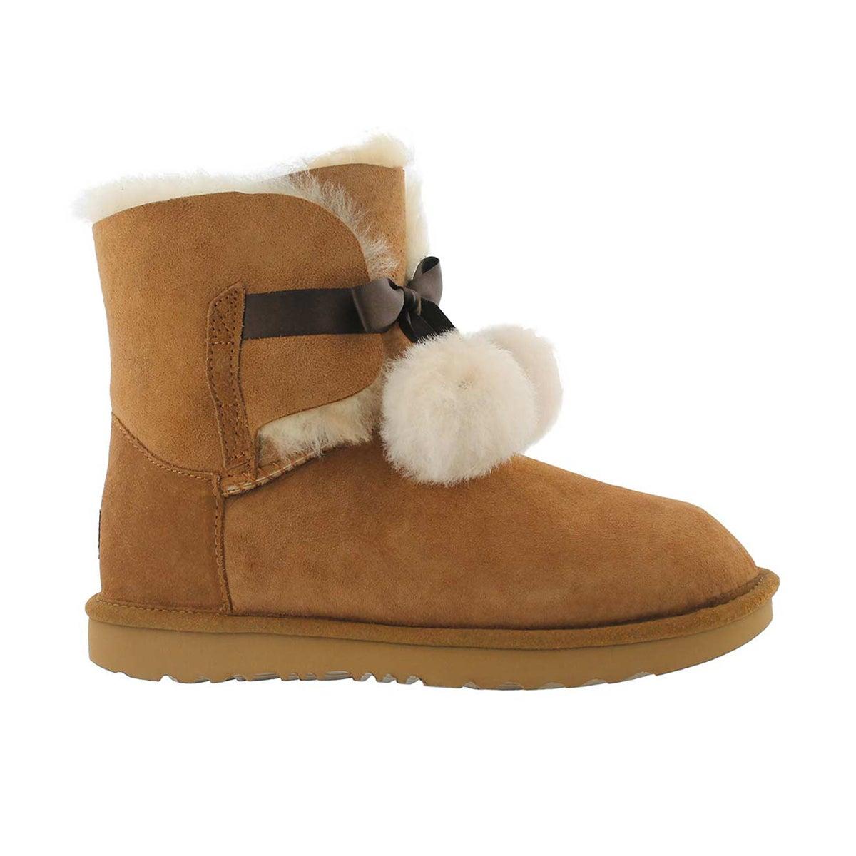 Girls' GITA chestnut pom pom sheepskin boots