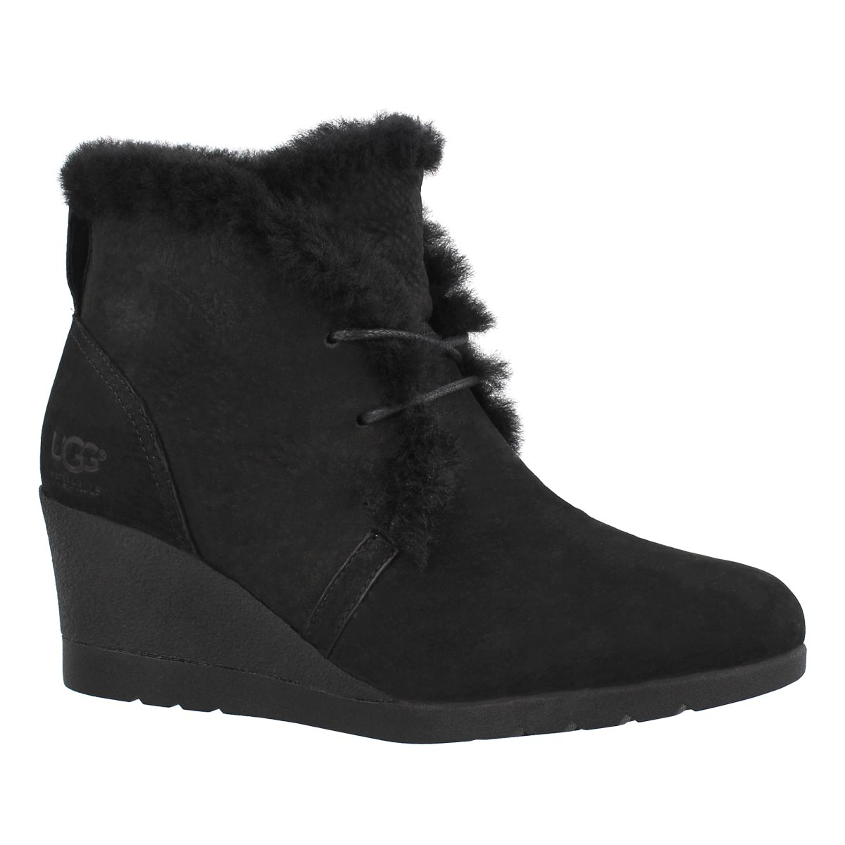 Women's JEOVANA black laceup wtpf wedge boots