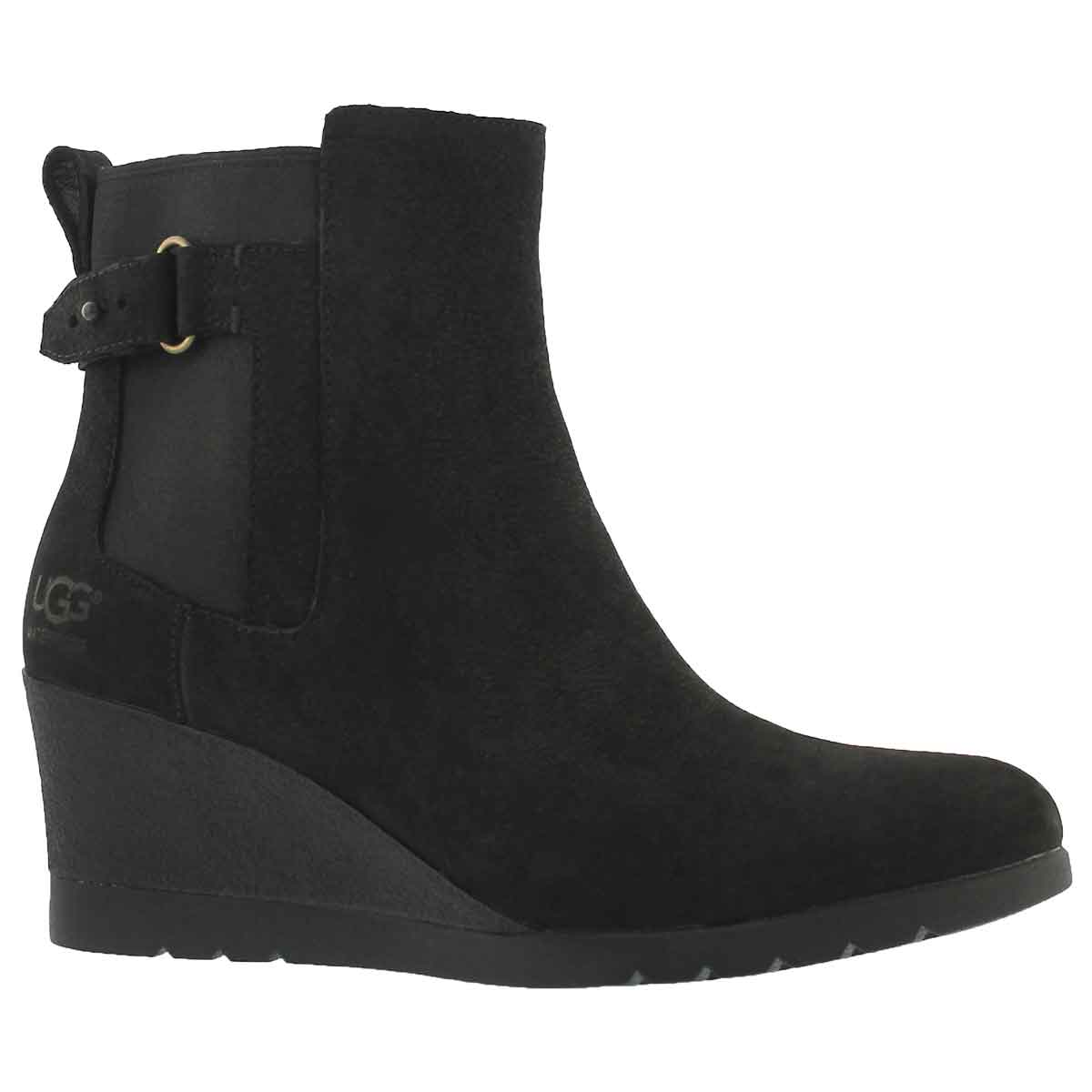 Women's INDRA black waterproof wedge ankle boots