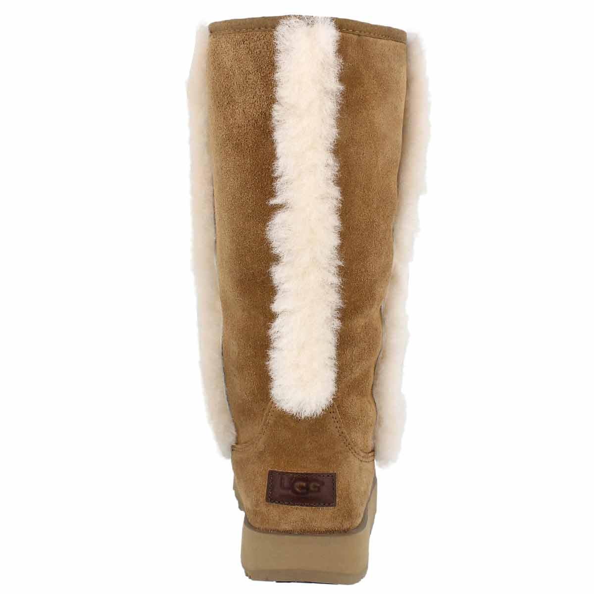 Lds Sundance chestnut wtpf suede boot
