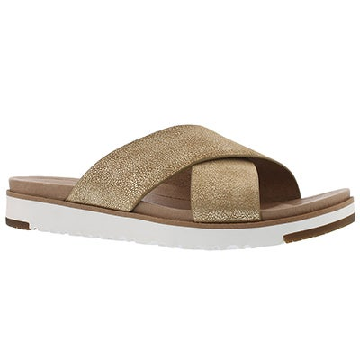Lds Kari Metallic gold casual slide sndl