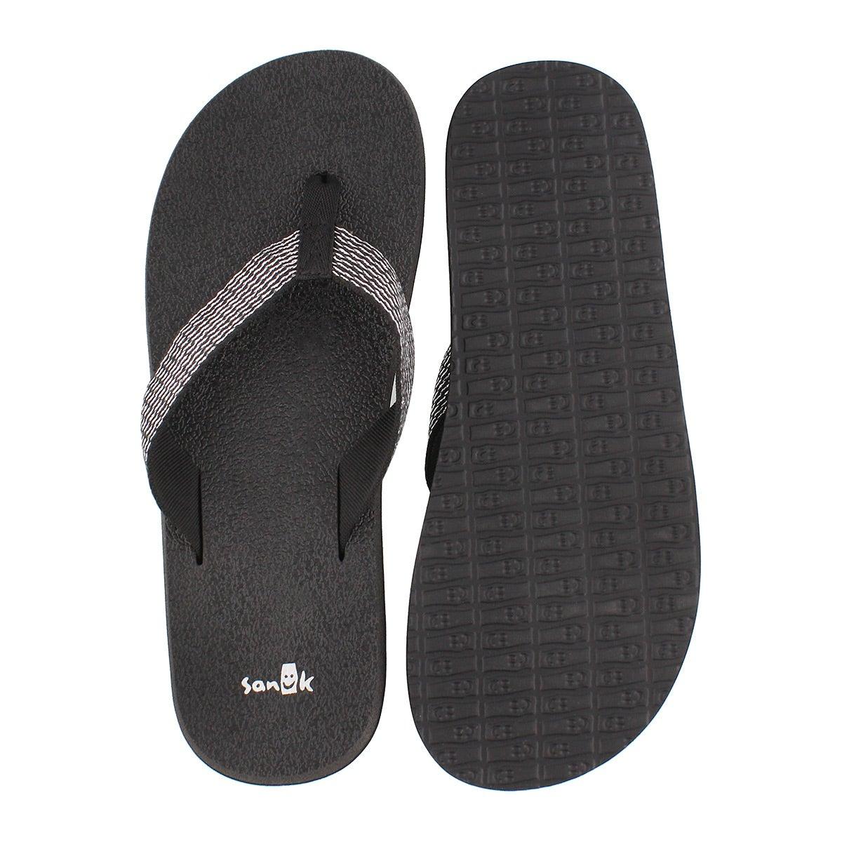 Lds Yoga Mat Web-Bling blk/slv flip flop