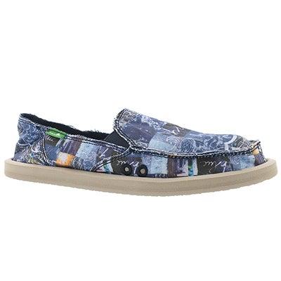 Lds Donna blue love slip on shoe