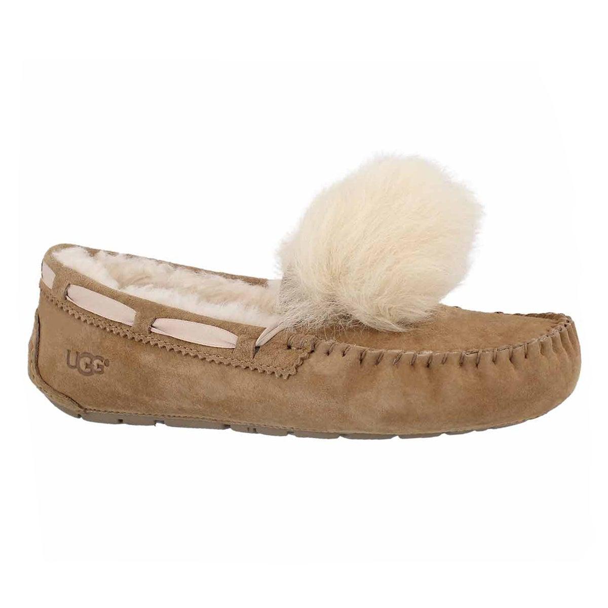 Women's DAKOTA POM POM chestnt sheepskin moccasins