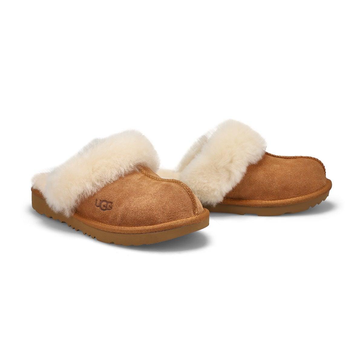 Grls Cozy II chestnut sheepskin slipper