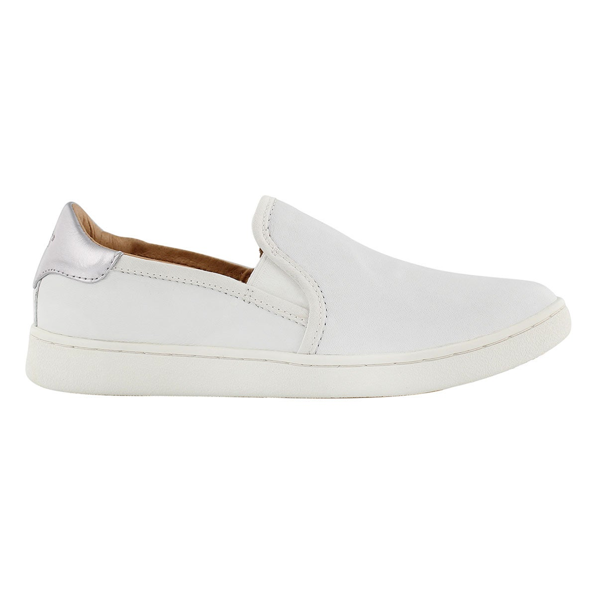 Lds Cas white lthr casual slip on shoe
