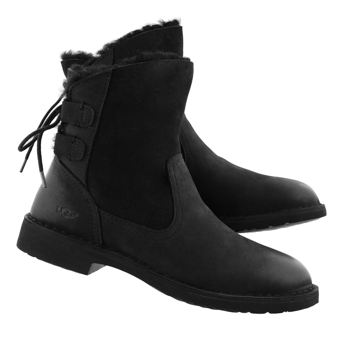 Lds Naiyah blk back lace sheepskin boot