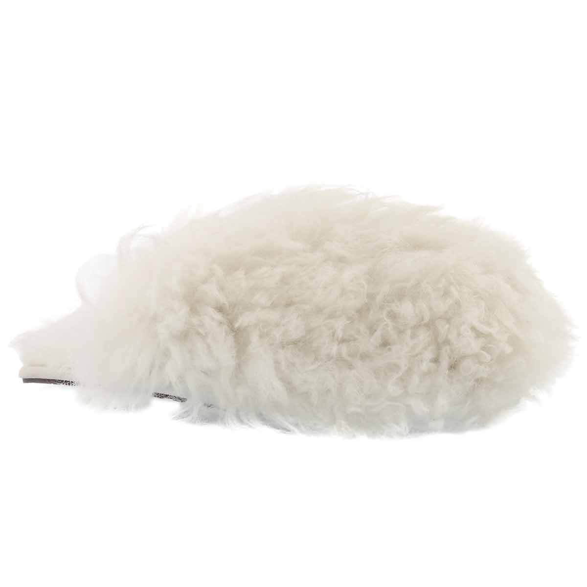 Women's FLUFF MOMMA MONGOLIAN white clogs