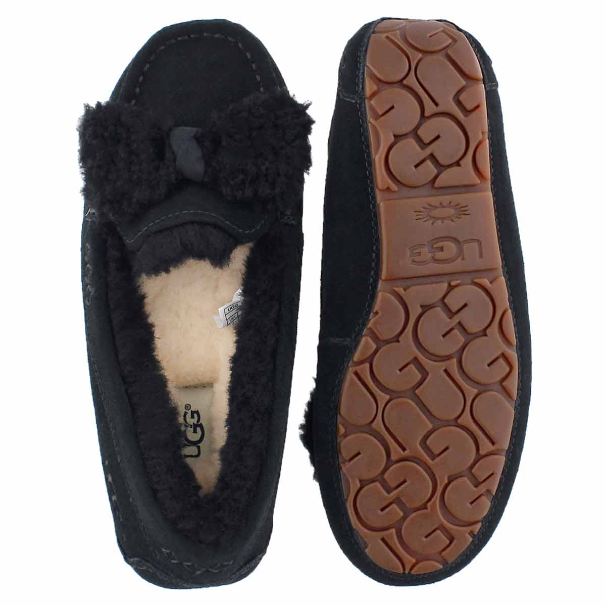 Lds Ansley Fur Bow black sheepskin moc