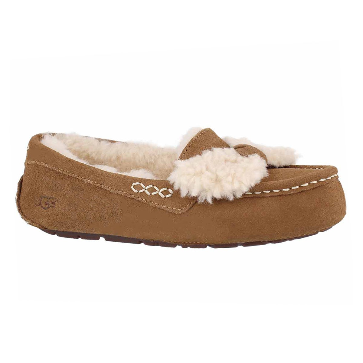 Women's ANSLEY FUR BOW ches sheepskin moccasins