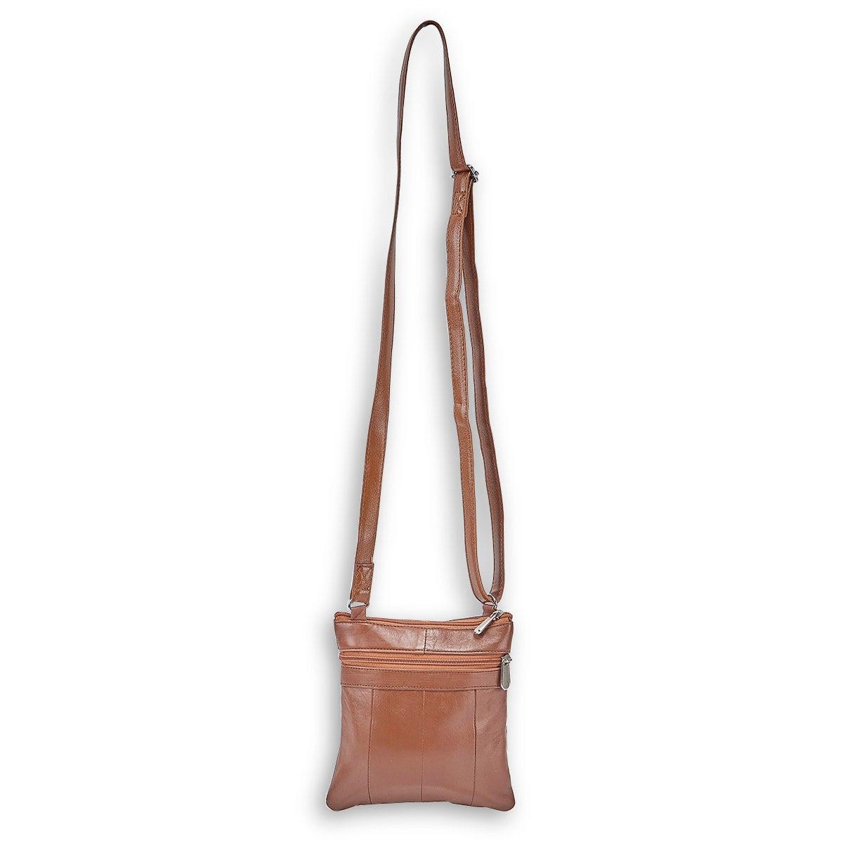 Lds tan sheep leather cross body bag