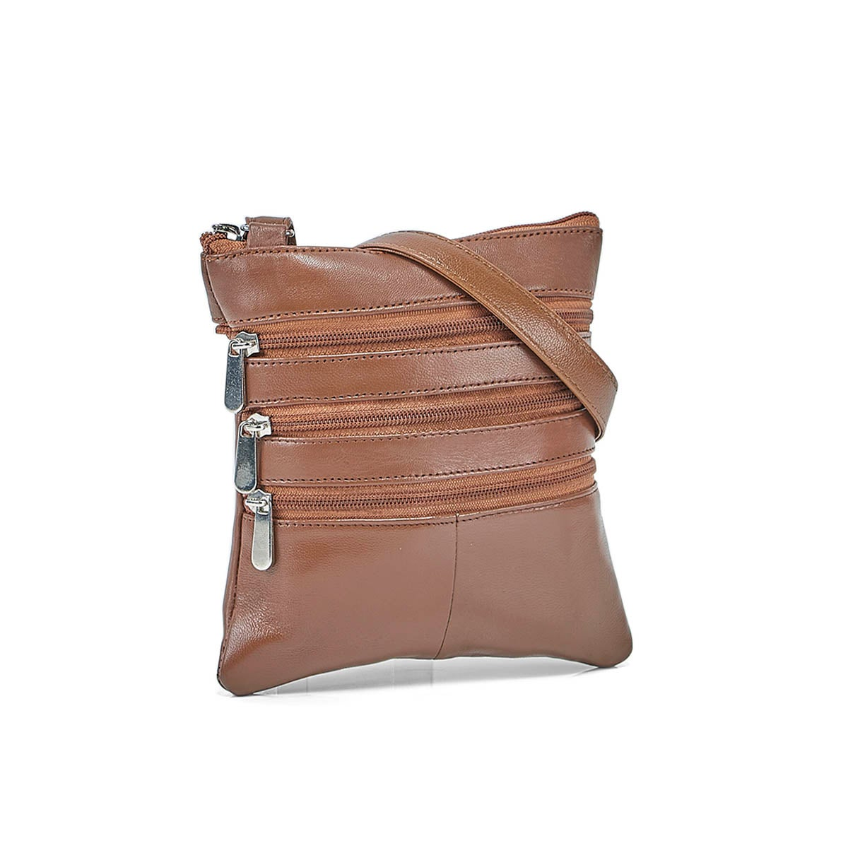 Lds tan sheep leather cross body bag