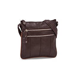 Lds brn sheep leather cross body bag