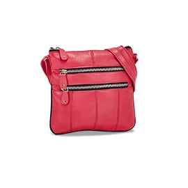 Lds pink sheep leather cross body bag