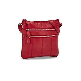 Lds red sheep leather cross body bag