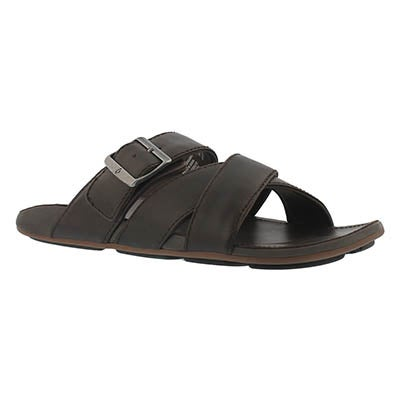 Mns Kaupe'a dark wood slide sandal