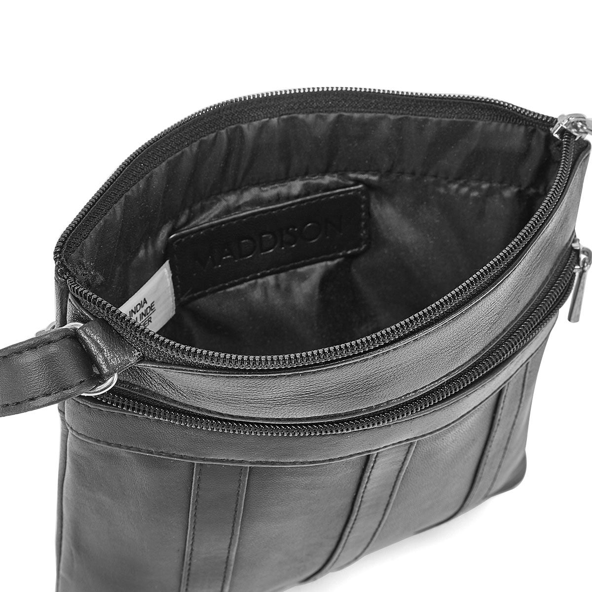 Lds blk sheep leather panelled crossbody