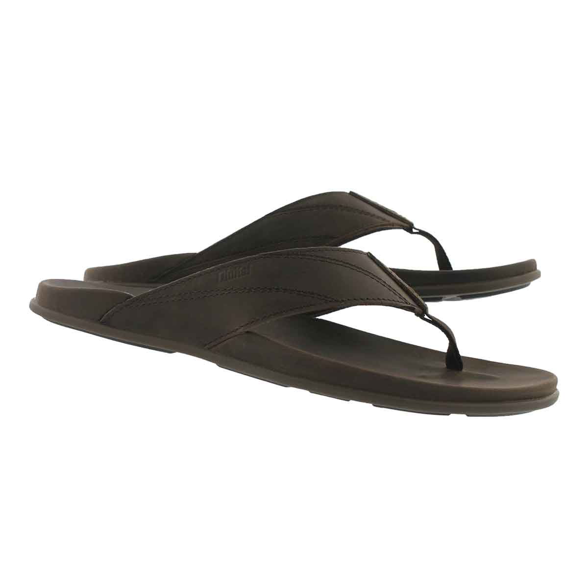 Mns Pikoi dark wood thong sandal