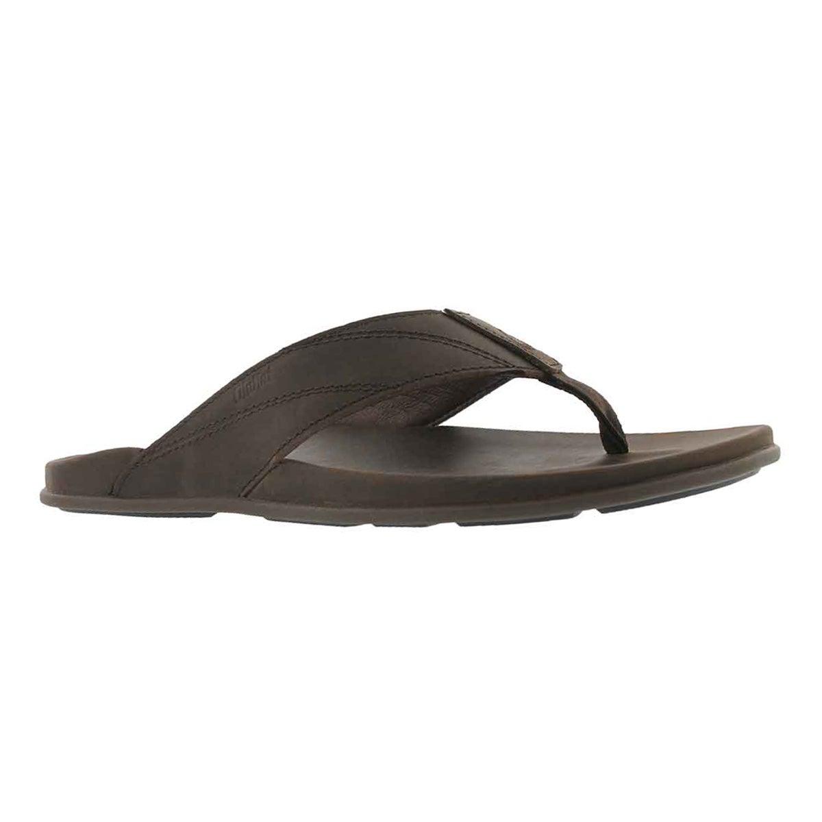 Men's PIKOI dark wood thong sandals