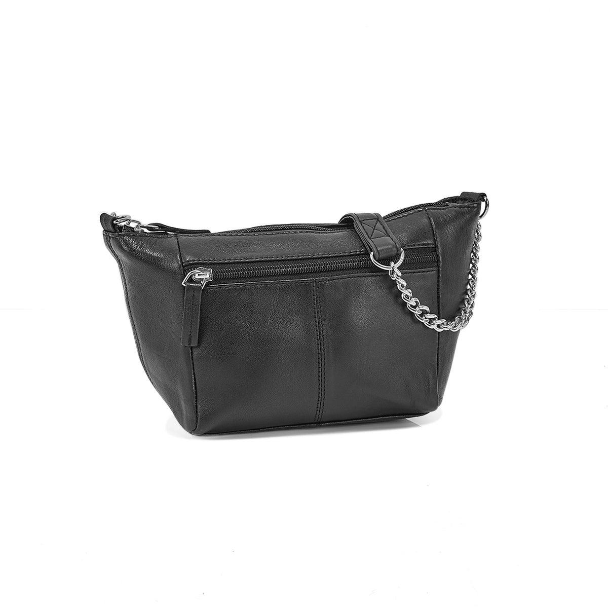 Lds black sheep leather crossbody bag