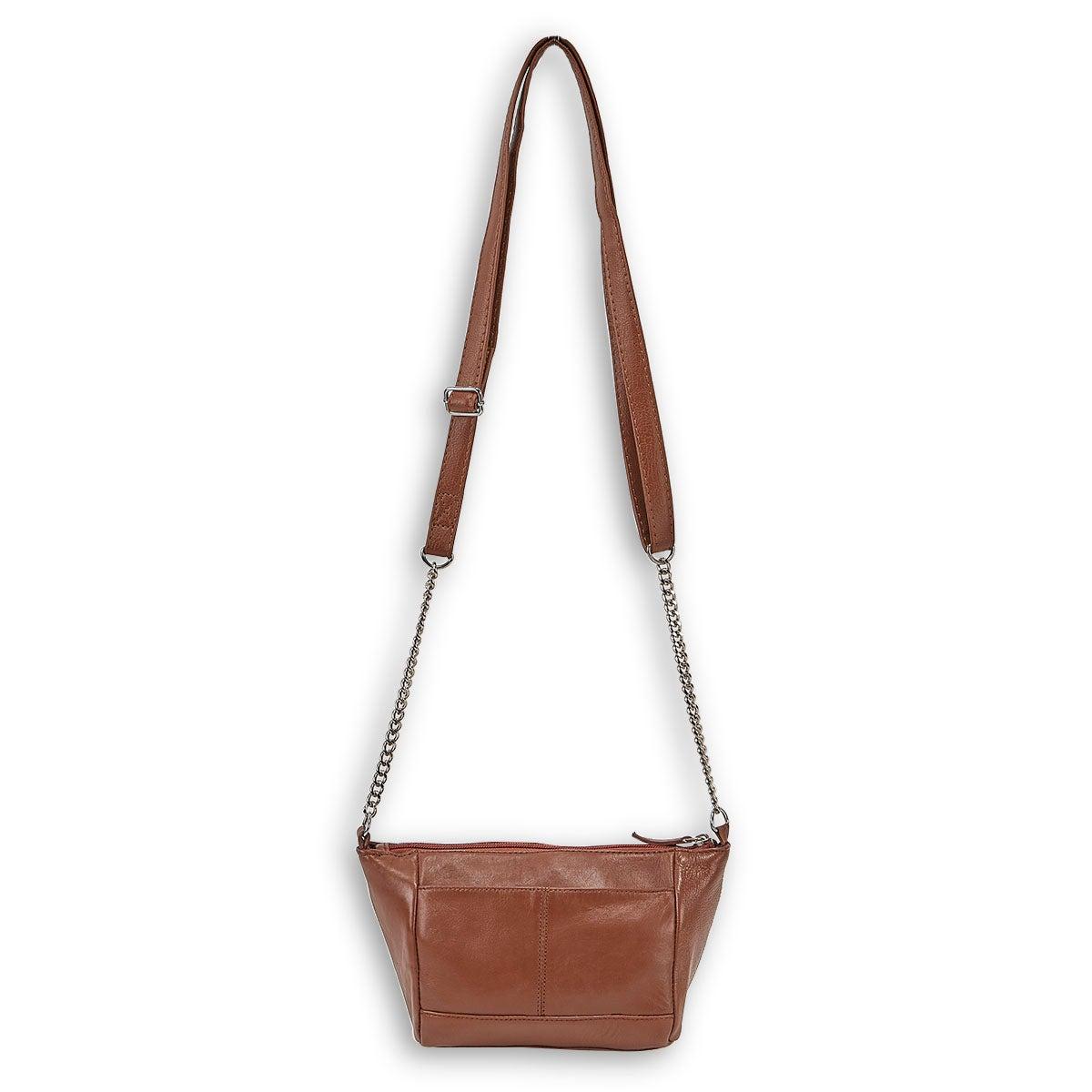 Lds tan sheep leather crossbody bag