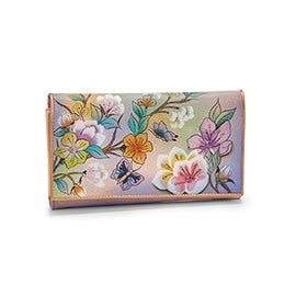 Painted leather Japanese Garden wallet