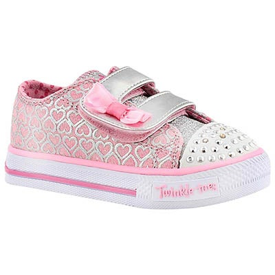 Skechers Infants' SHUFFLES pink/silver light up sneakers