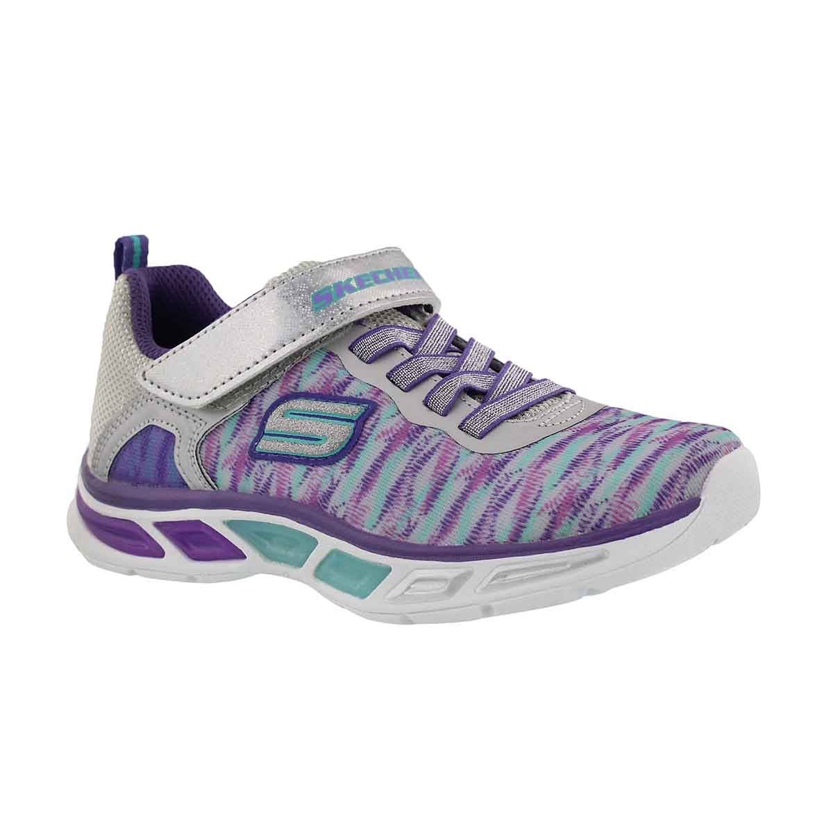 Girls' LITEBEAMS silver/purple light up sneakers