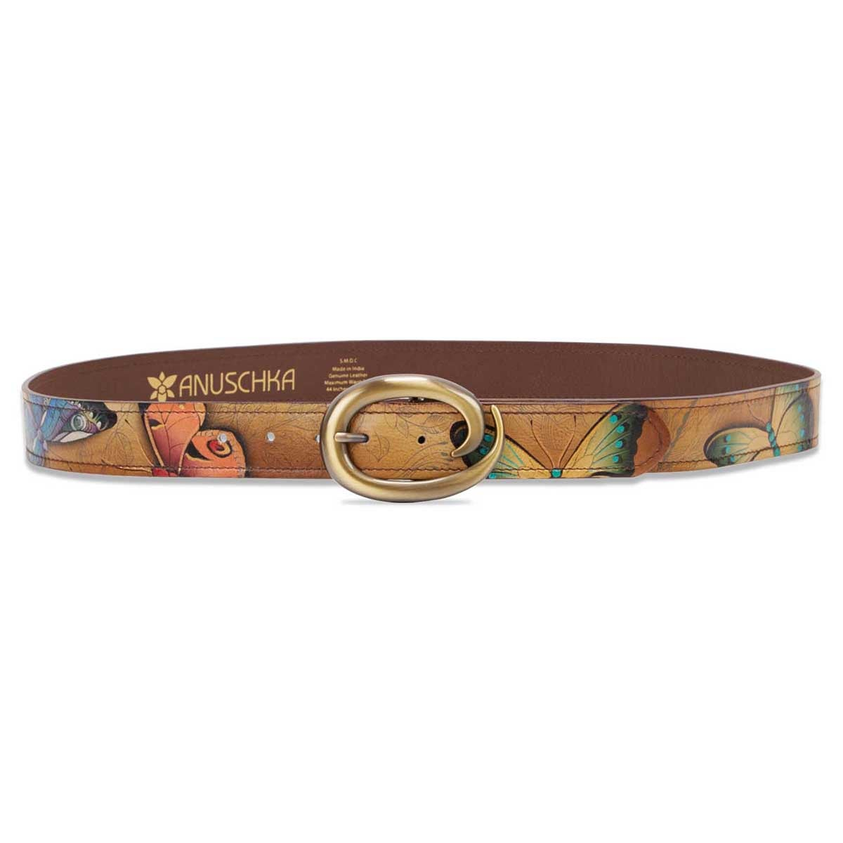 Painted lthr Earth Song adjustable belt