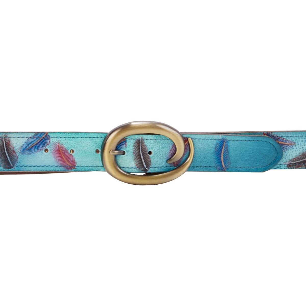 Painted lthr Floating Feathers adj belt