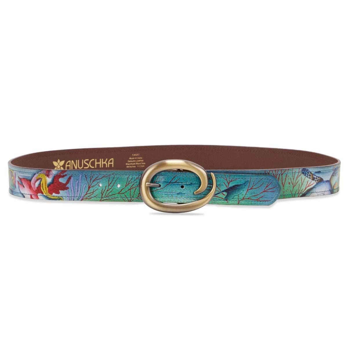 Painted lthr Ocean Treasures adj belt