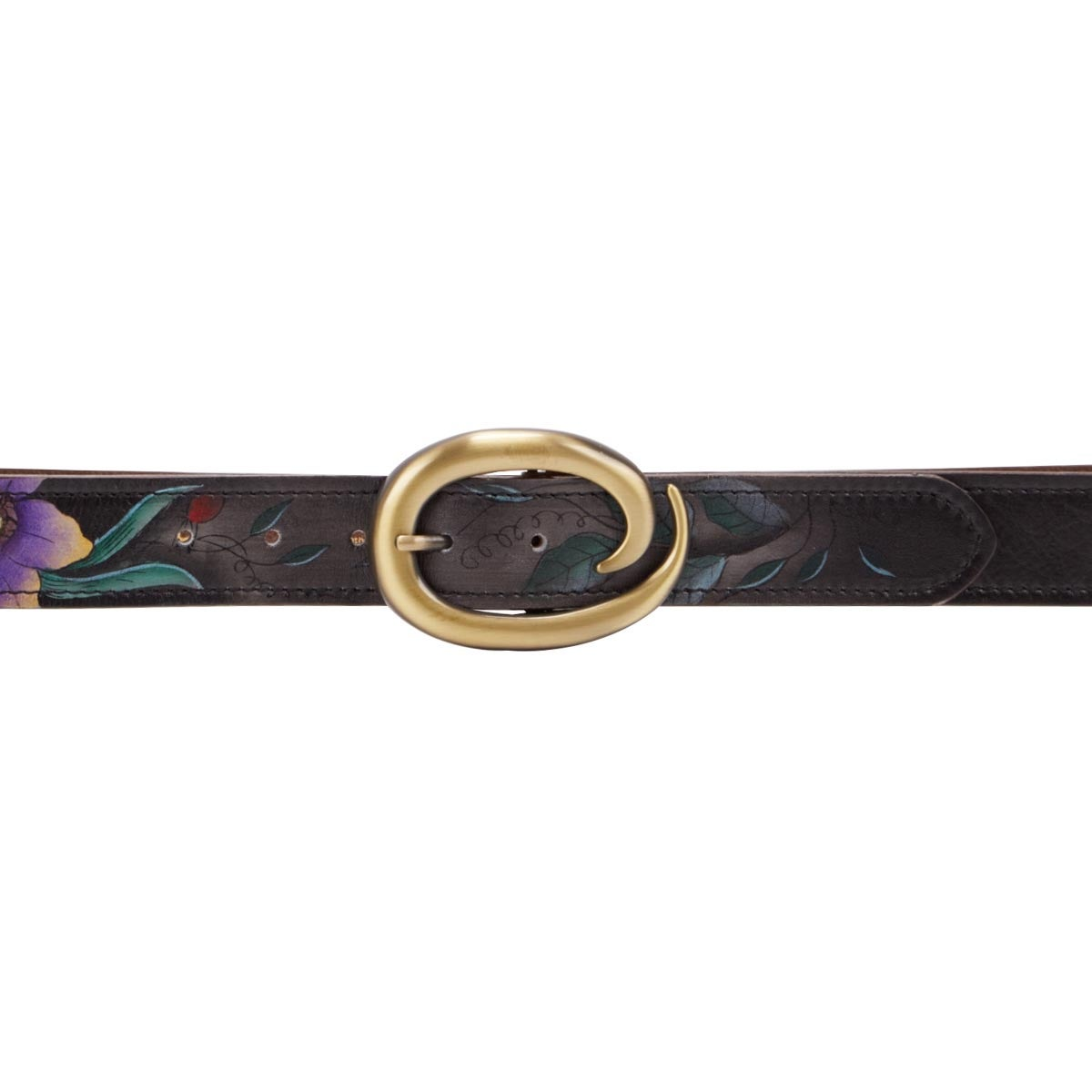 Painted lthr Vintage Bouquet adj belt
