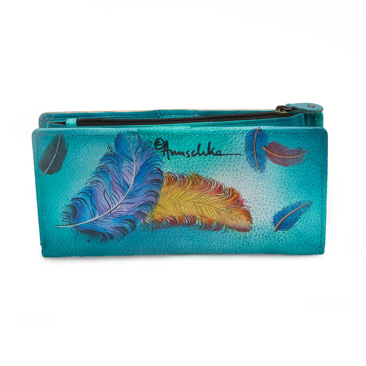 Printed leather Floating Feathers clutch