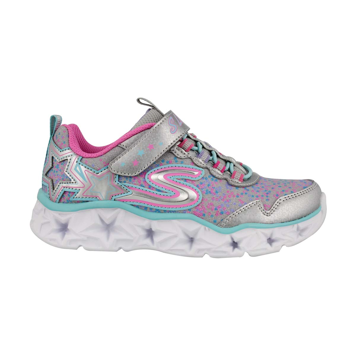 Grls Galaxy Lights slv/mlt light up snkr