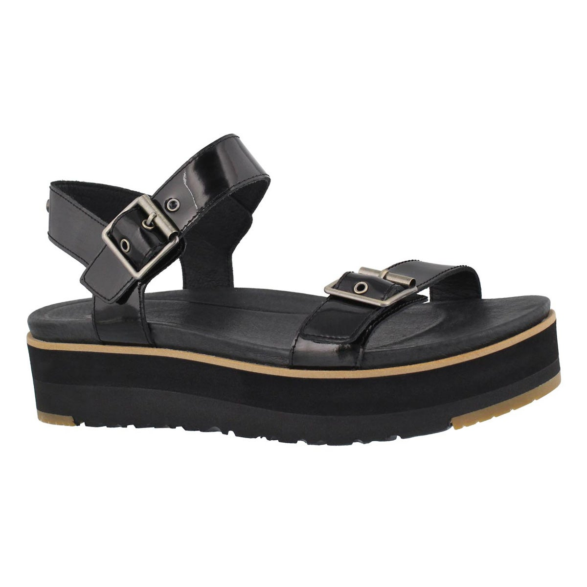 Women's ANGIE black casual platform sandals