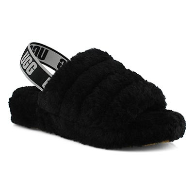Lds Fluff Yeah black sheepskin slipper