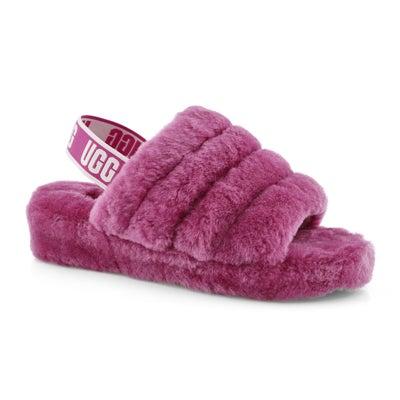 Lds Fluff Yeah fuchsia sheepskin slipper