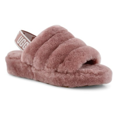 Lds Fluff Yeah pink sheepskin slipper