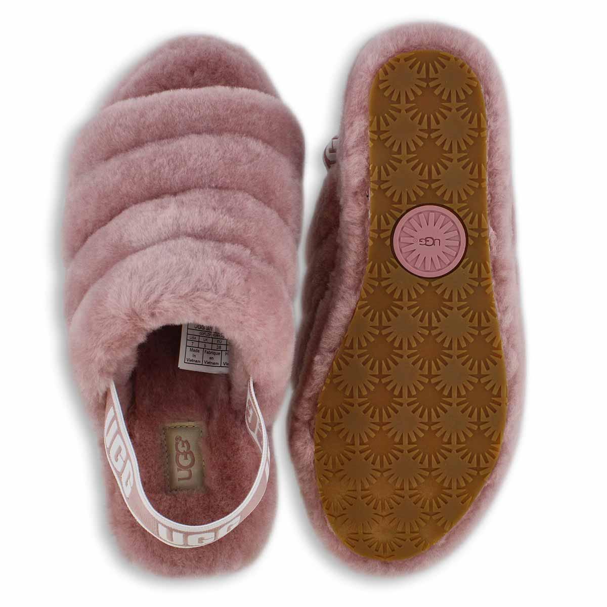 Lds Fluff Yeah pink sheepskin slipper