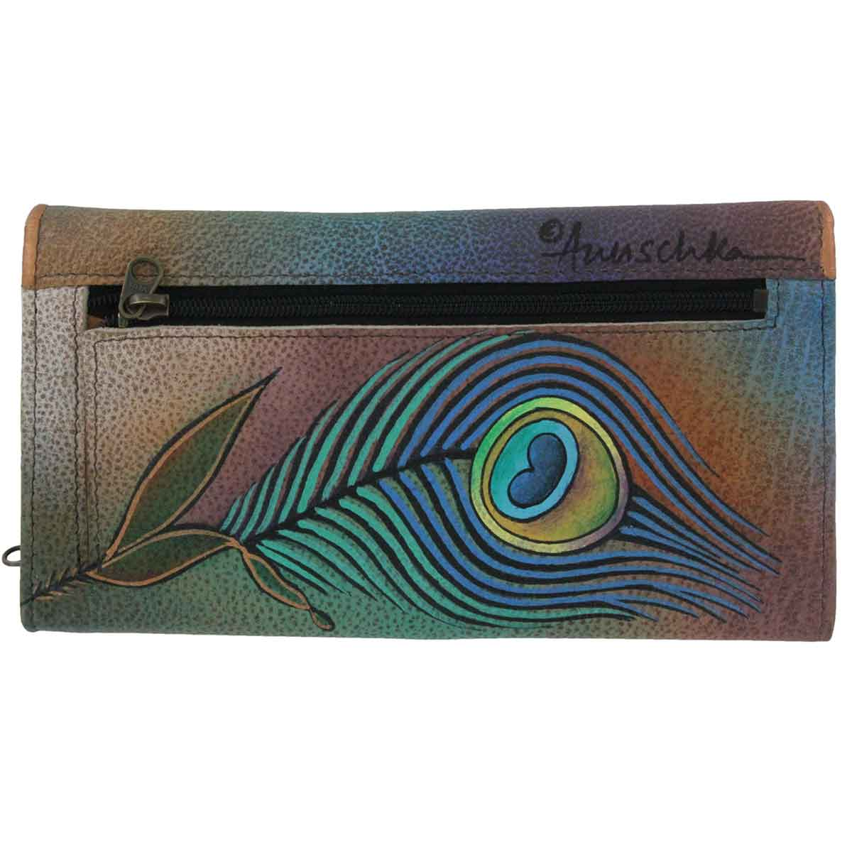 Printed leather Peacock Lily wallet